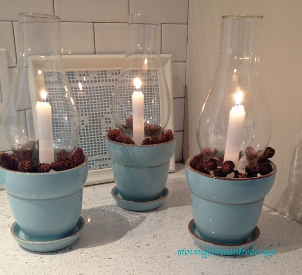 Glass chimney candle holders made with ceramic pots, glass chimneys and stones!