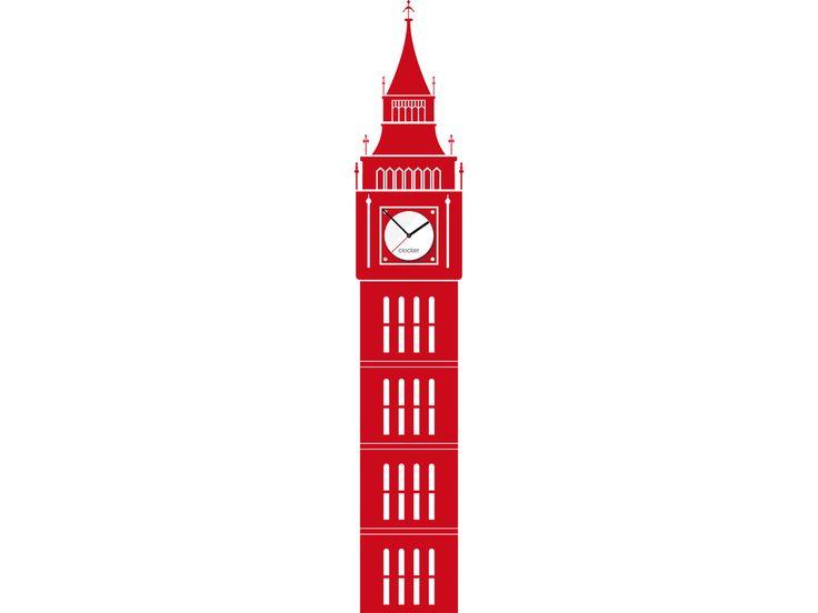 Stylové hodiny tvoří kombinace siluety Big Benu z dekorativní vynilové samolepky a designového ciferníku s kvalitním strojkem Quartz