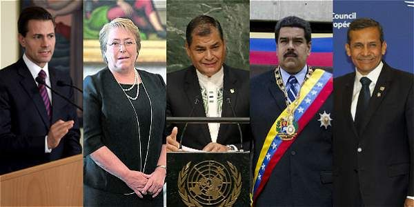 Enrique Peña Nieto, presidente de México; Michelle Bachelet, presidenta de Chile; Rafael Correa, presidente de Ecuador; Nicolás Maduro, presidente de Venezuela, y Ollanta Humala, presidente de Perú.