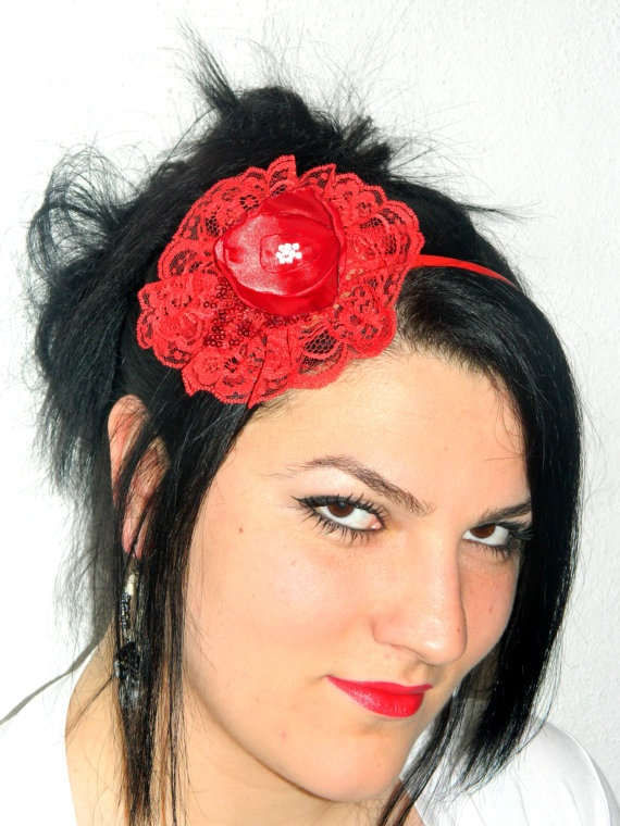 Red Lace Headband crown Womens headband cute by emofoFashionDesing, $16.00