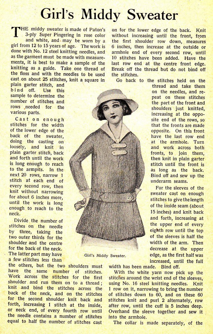 Knitting History Society : Knitting pattern from the history wardrobe collection