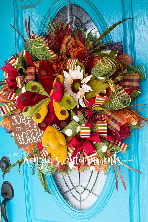 Fall Wreath Fall Deco Mesh Wreath Turkey Wreath