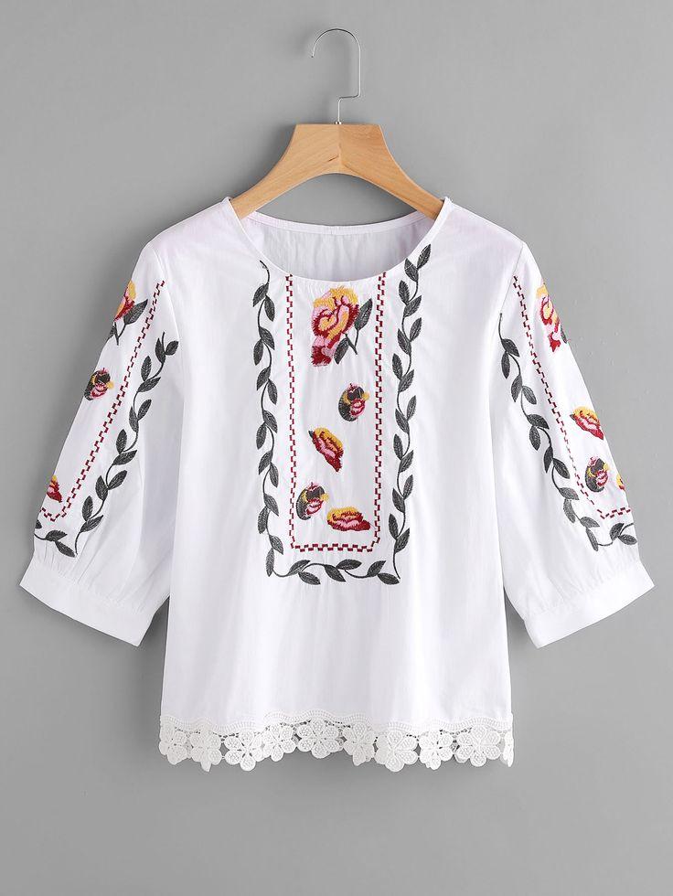 Blusa con bordado y ribete de encaje -Spanish SheIn(Sheinside)