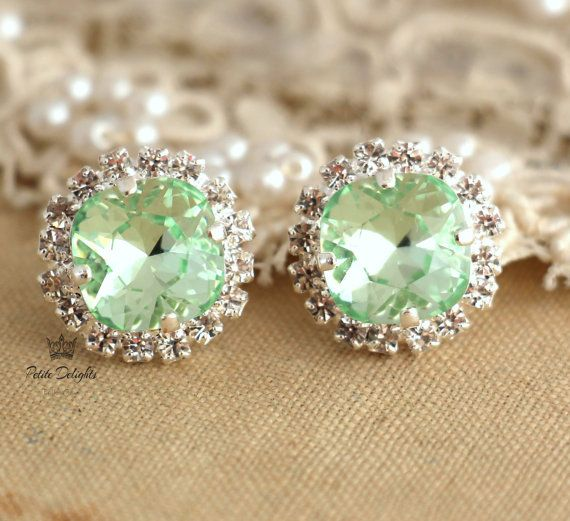 Clear Mint green sea foam Crystal stud Petite vintage by iloniti, $43.00 Very Cute for sping/ summer<3