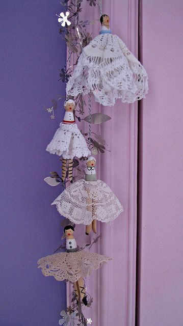 Handmade clothes pin dolls with vintage doily skirts by Heart felt, via Flickr