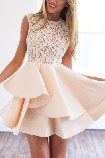 Robe zippée évasée -abricot