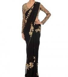 Buy Black embroidered net saree wtih blouse wedding-saree online
