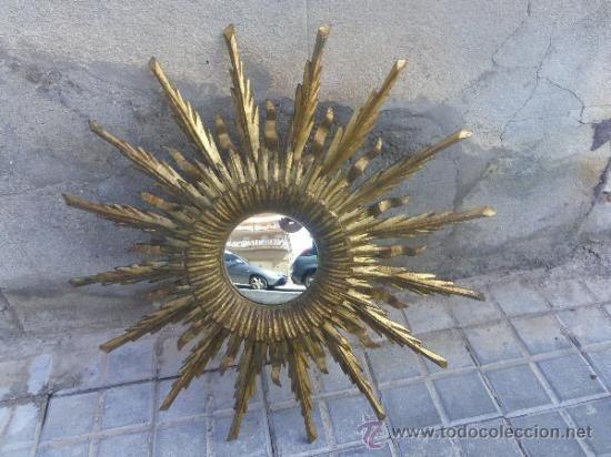 bonito espejo vintage de madera en forma de sol ver mas fotos para