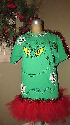 Merry GRINCH-Mas Knit UGLY Christmas Garland TuTu Dr. Seuss T-Shirt sz M<3<3SOLD<3<3