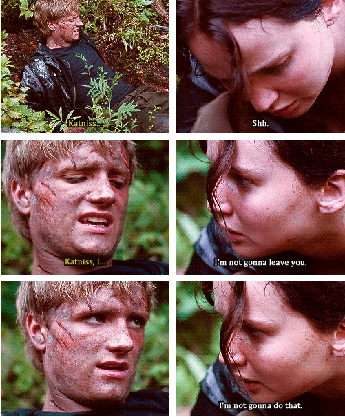 The Hunger Games: Katniss knows what Peeta is saying before he says it...