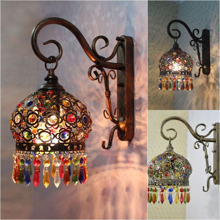 New Mediterranean style Color Crystal Light LED Wall Lamp Wall sconce Lighting #HUATIANMEIWU #Mediterraneanstyle
