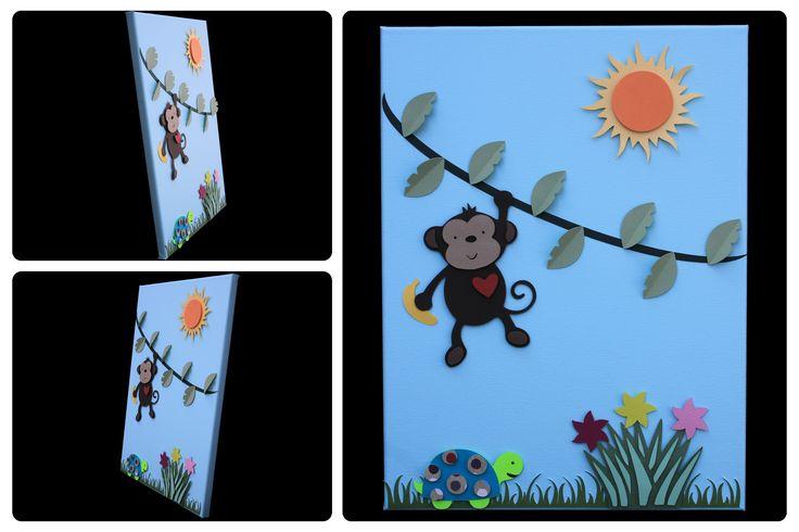 3D Nursery Art - Monkey on a Vine, Turtle, Flowers, Sun