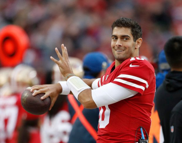 San Francisco 49ers  Jimmy Garoppolo (10) warms up on the sidelines against  Seattle Seahawks in the second quarter of their NFL game at Levi s Stadium  in ... ef6bc849e