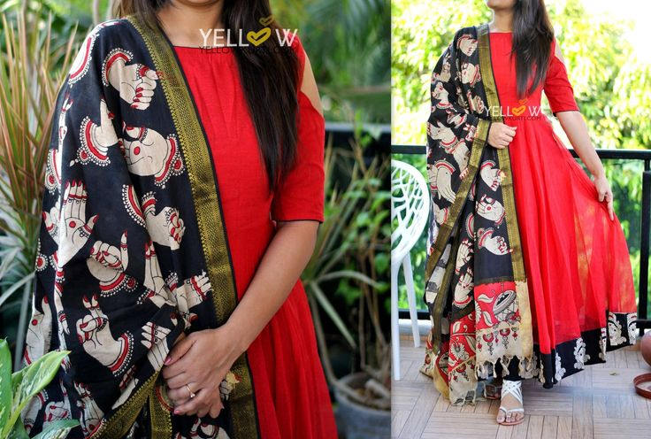SOLDBright Red jute cold shoulder dress with kalamkari edging to the flare teamed up with mangalagiri cotton hand painted kalamkari Dupatta .Kindly write to us at teamyellow@yellowkurti.com  for Orders !  15 March 2017