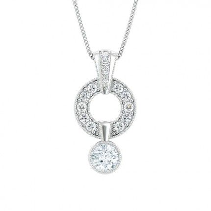 Cluster Drop Round Brilliant Diamond Necklace in Platinum 950