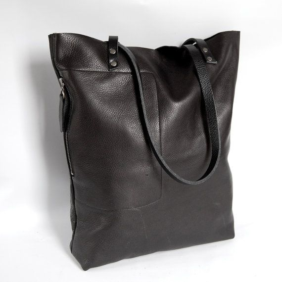 Large Camino leather tote bag in black  by valhallabrooklyn, $185 11.25x15.25.3.25