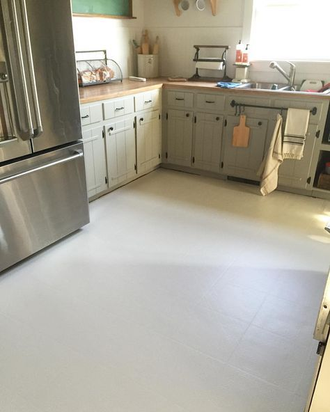 Painted linoleum floors farmhouse kitchen remodel for Kitchen lino flooring ideas
