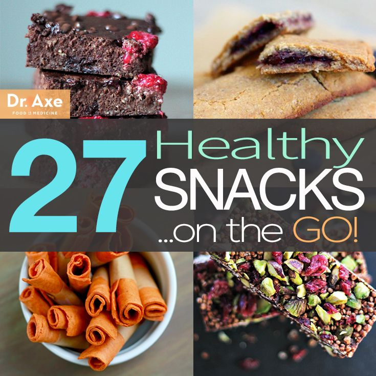 """27 Healthy Snacks on the Go"" from Dr. Josh Axe #healthy #snacks #healthysnacks"