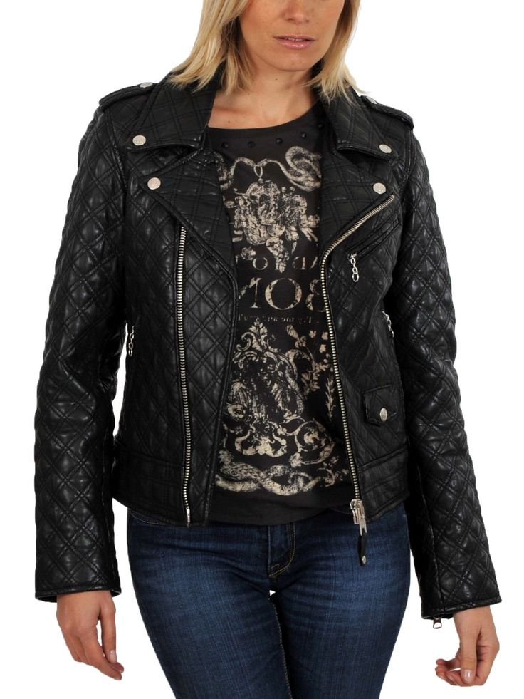 Aries Leathers Women New Biker Quilted Real Lambskin Leather Jacket WJ47 (L, Black)