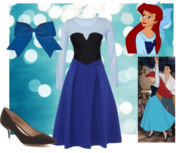 Ariel cosplay for Halloween. Disney's Little Mermaid blue dress costume. Fashion created by jwalkasha on polyvore.com