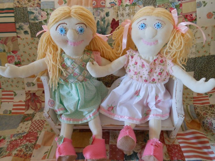 I love to make dolls from cotton knit fabric which has a slight stretch.  Makes them soft and cuddly.  I love to give them pretty floral dresses too!