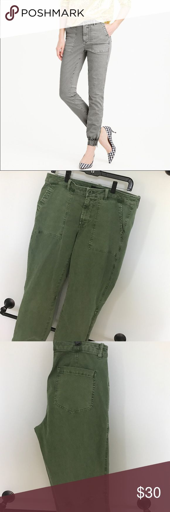 Slim Cargo Pant in Stretch Chino Sits at hip. Fitted through hip and thigh, with a slim leg.  Inspired by a vintage military pant, these slim chinos are the perfect solution to denim fatigue. Made from a stretchy cotton chino and finished with elastic cuffs and ankle zips 98% Cotton 2% elastane. Patch pockets, back patch pockets. Machine wash. Item C7233.  Size 10 Tall. 28 inch inseam. Worn a few times, still in good condition. J. Crew Pants Ankle & Cropped