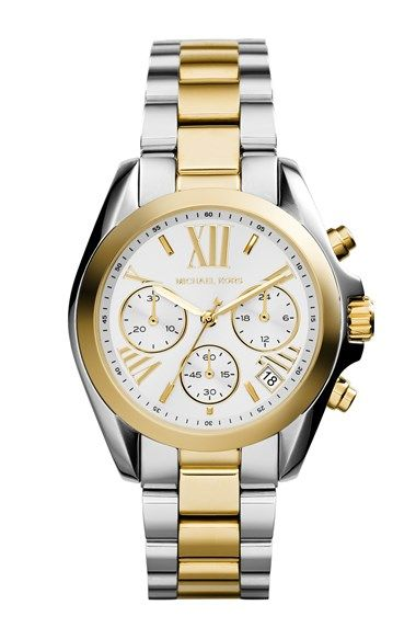 MICHAEL Michael Kors Michael Kors 'Bradshaw - Mini' Two-Tone Chronograph Bracelet Watch, 36mm (Nordstrom Exclusive) available at #Nordstrom