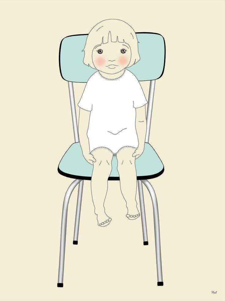 affiche la chaise bleue la petite madeleine affiches chambre d 39 enfant kids posters. Black Bedroom Furniture Sets. Home Design Ideas