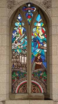 Métis artist Christi Belcourt's design for a window in Centre Block to commemorate the legacy of Indian Residential Schools.The artwork, which is now installed above the members' entrance to the House of Commons,
