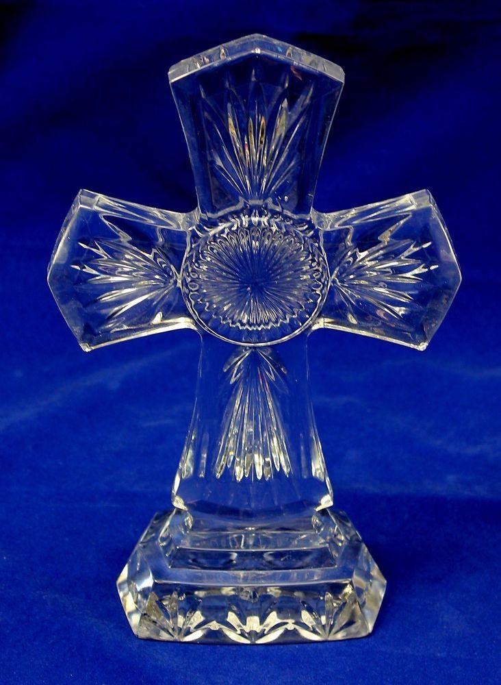 Royal Limited 10 Quot Lead Crystal Celtic Shaped Cross Glass Sculpture Czech Republi Vintage Finds