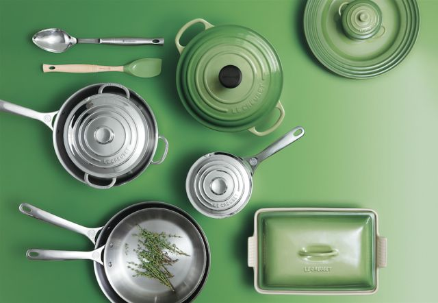 Le creuset 39 s new stainless steel and palm green cookware for Art and cuisine cookware