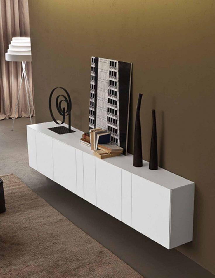 inclinART H.584 moderní asymetrická komoda v bílé barvě / cabinet