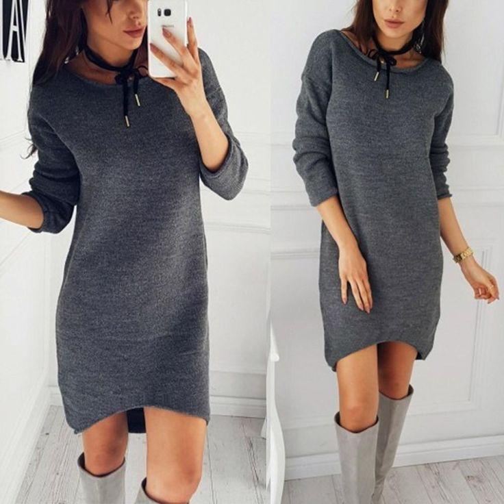 Fashion Women Solid O-Neck Sweater Long Shirt Casual Long Sleeve Pullove Dress 3