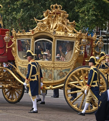 "Tradition: every year on ""prinsjesdag"" (budget day) the golden carriage brings our royal family to Den Haag ~ Ridderzaal"