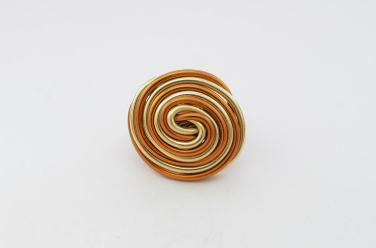 Gold and copper aluminum wire ring, summer ring, wrapped ring, aluminium ring, twisted ring, handmade ring, made to order ring, gift for her by MadebyLaure on Etsy