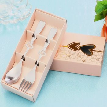 10sets/lot Wedding Favors and Gifts Practical Stainless Steel Spoon and Fork Set Wedding Souvenir For Guests