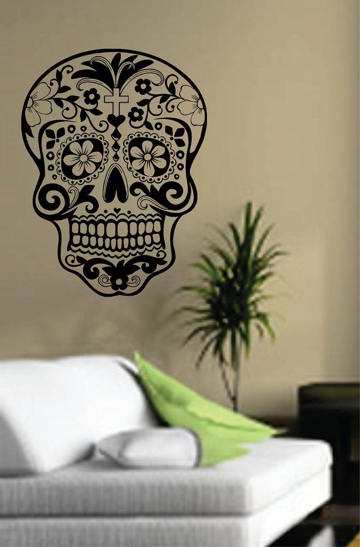 Removable wall art graphic - Sugar Skull Wall Vinyl Decal Sticker Art Graphic Sticker Sugarskull 17 00 Usd Via Etsy