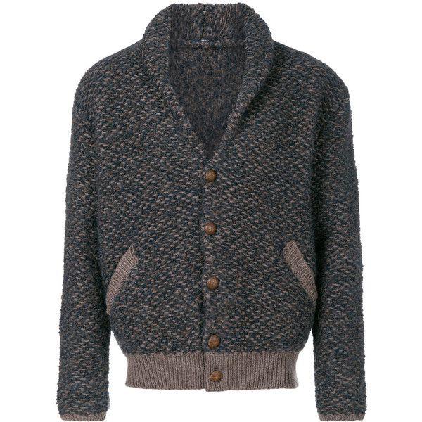 Lardini shawl collar cardigan ($825) ❤ liked on Polyvore featuring men's fashion, men's clothing, men's sweaters, brown, mens shawl collar cardigan sweater, mens shawl collar sweater, mens brown sweater, mens cardigan sweaters and mens brown cardigan sweater