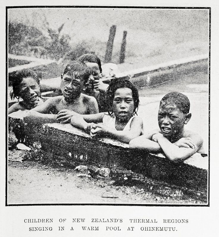 HILDREN OF NEW ZEALAND'S THERMAL REGIONS SINGING IN A WARM POOL AT OHINEMUTU.  Creator Auckland Weekly News (23 December 1920) Sir George Grey Special Collections, Auckland Libraries, AWNS-19201223-35-1 '