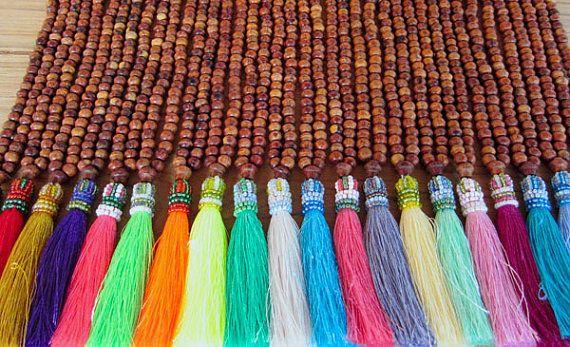 "Mala Tassel Necklace Wood Necklace Prayer Beads Long Tassel Necklace Namaste Yoga Necklace Silk Tassel Necklace Mala Tassel 4"" tassel"