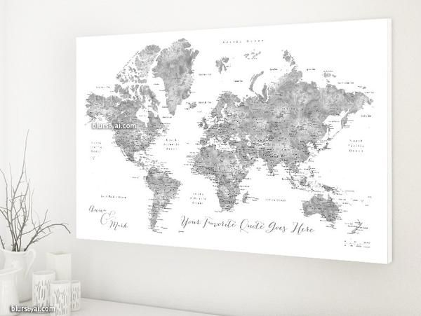 326 best blursbyais new art prints canvas prints push pin world map canvas print in grayscale watercolor with capitals and main cities travel lovers idea you can use this piece as travel pinboard or push pin gumiabroncs