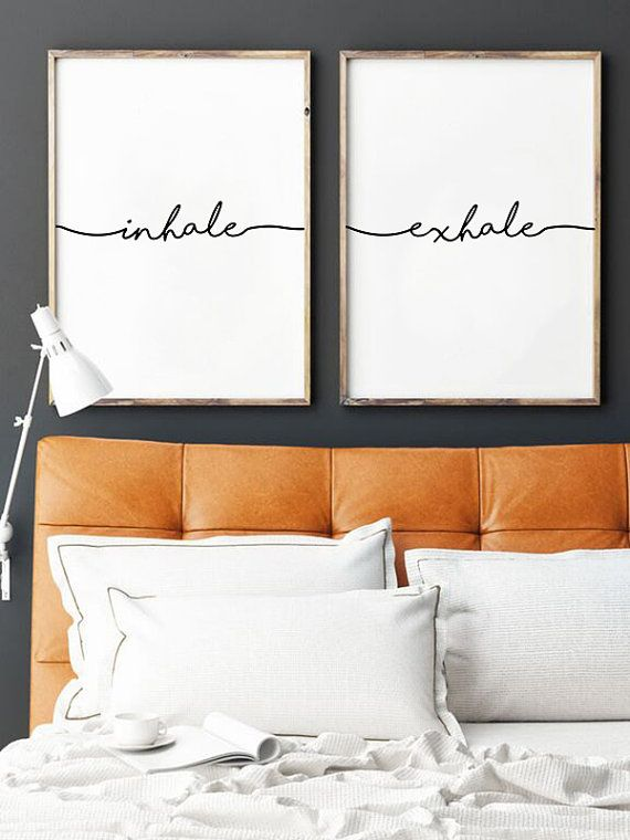 Inhale Exhale Print  Yoga Wall Art Prints Pilates Best 25 Bedroom art ideas on Pinterest bedroom