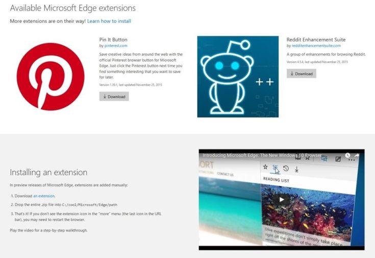 Microsoft Edge Extensions for Reddit and Pinterest spotted