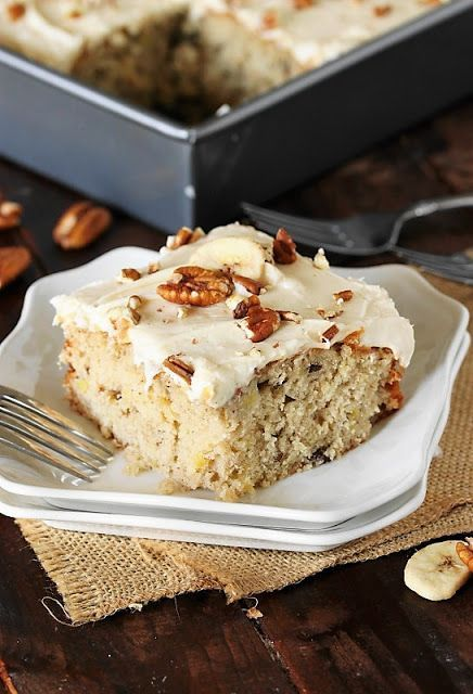 Hummingbird Sheet Cake with Caramel Cream Cheese Frosting image ~ All the hummingbird deliciousness of the classic layer cake, in low-fuss sheet cake form.