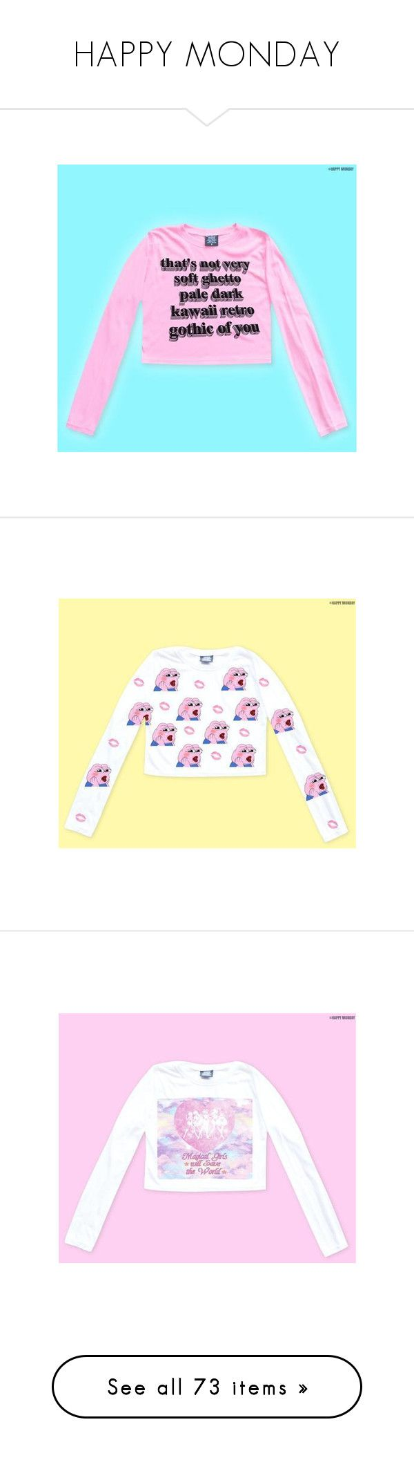 """""""HAPPY MONDAY"""" by viva-la-revolucion ❤ liked on Polyvore featuring tops, sweaters, pink sweater, long sleeve sweater, pink top, extra long sleeve sweater, long sleeve tops, yellow top, yellow sweater and pink long sleeve top"""