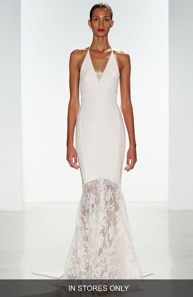 nouvelle AMSALE 'Bree' Lace & Crepe Halter Gown (In Stores Only) available at #Nordstrom $2475 - show your boots
