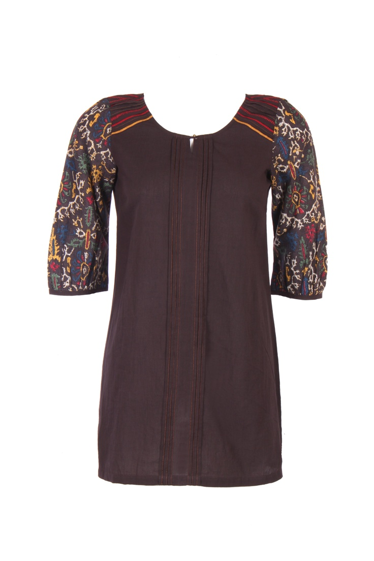 Solid Brown Kurta; Round Neck With Detailing; Quarter Sleeve; 32 Inches Long; 100% Cotton #Clothing #Fashion #Style #Kurti #Wear #Colors #Apparel #Semiformal #Print #Casuals #W for #Woman