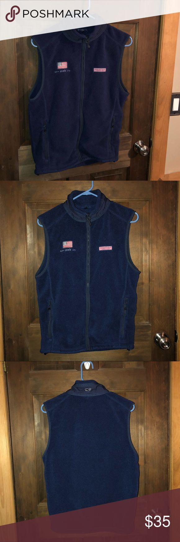 SALE💙Vineyard Vines   New York City Harbor Vest * Brand: Vineyard Vines * Size: Men's XS Women's S-M * Color: Navy Blue with American Flag and Pink logo * Description: perfect condition! Very comfortable material with lots of life left. Has a New York City label on the left side.  * Reason for sale: I have a Patagonia vest so I don't need this!  * Will except most reasonable offers! * I ship in 1-2 business days!  * * I will disclose any/all flaws. * * Smoke free home! * Ask any questions…