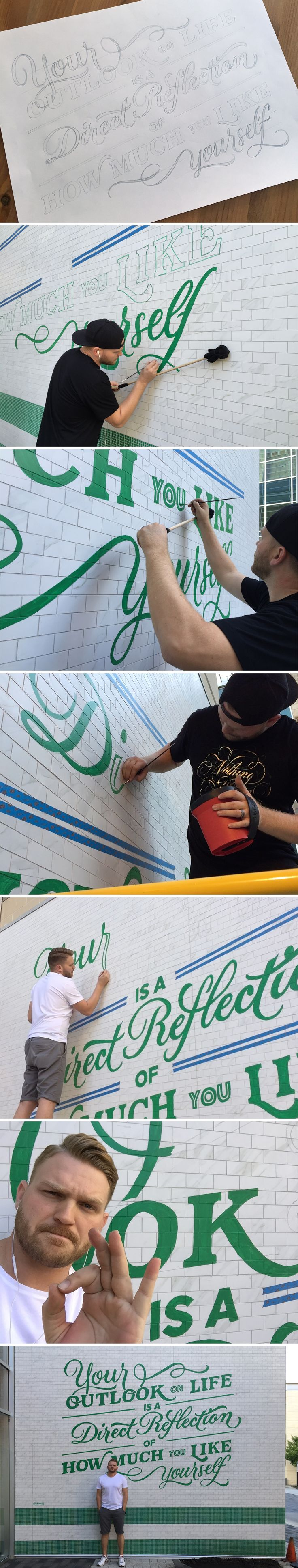 Lululemon-mural-process | Now he just needs some moss.