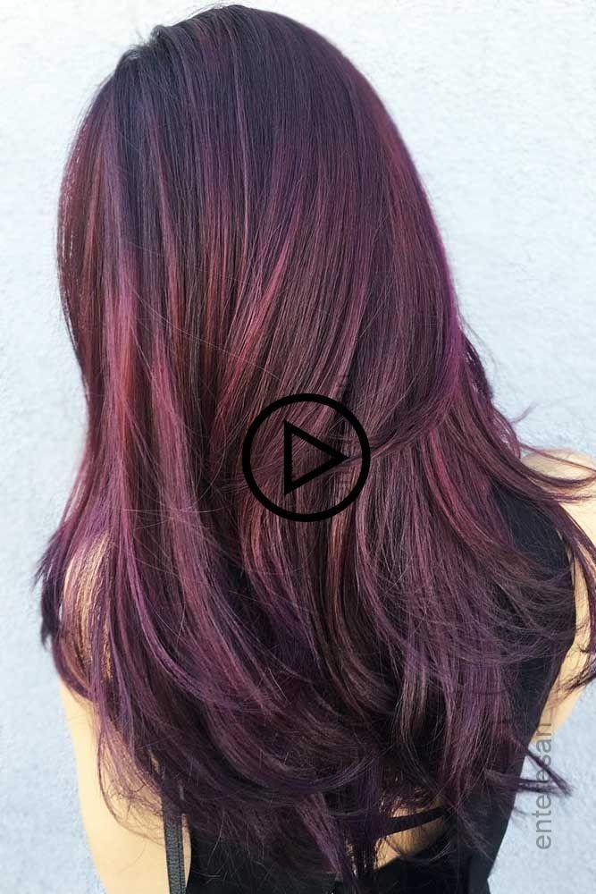 Aubergine Haar Farbe Rothaar Mochten Die Augen Der Menschen Mit Fett Dunkel Rot Farbe Fangen Die Long Hair Styles Hair Styles Hair